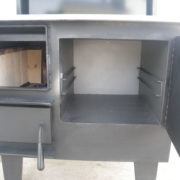 cabin tender front view open firebox oven